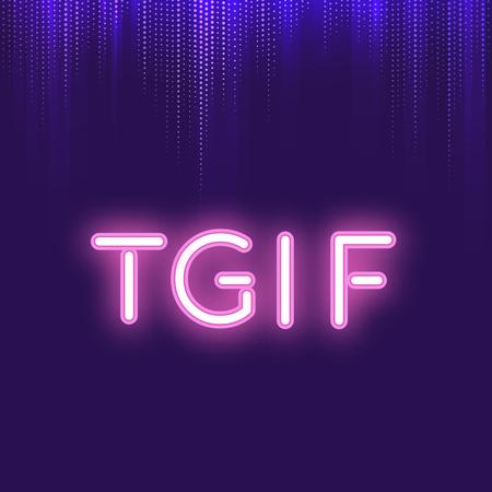 Pink TGIF neon signboard vector