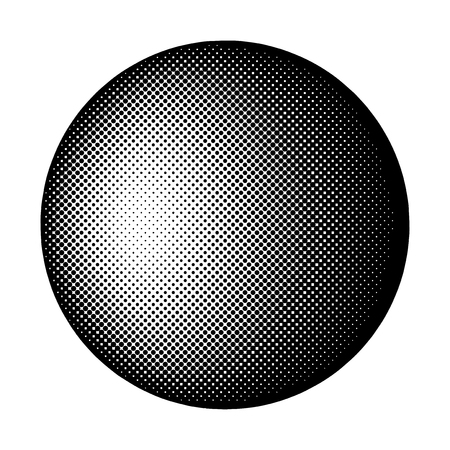 Black halftone badge on white background vector Çizim