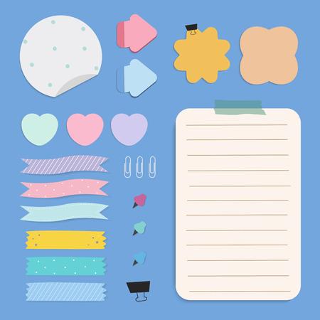 Ensemble de vecteur de notes de papier de rappel coloré Vecteurs
