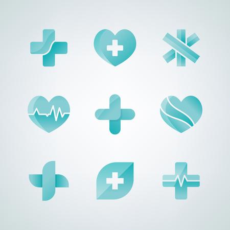 Set of medical icons 3D designs Illustration