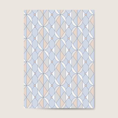 Colorful pastel geometric seamless pattern on a blue card Illustration