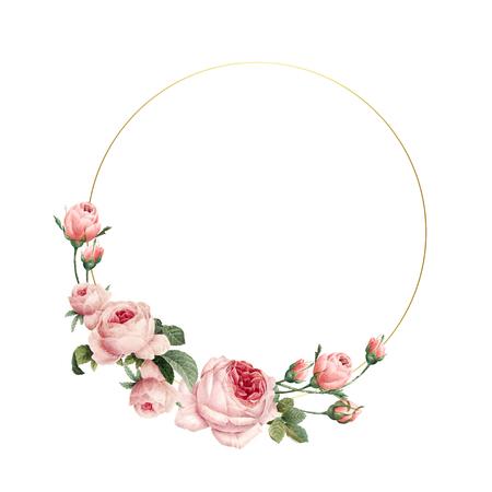 Blank round pink roses frame vector on white background Ilustração