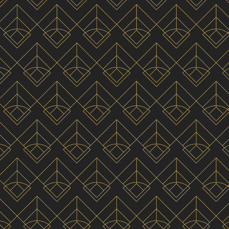 Golden geometric seamless pattern on black background Illustration