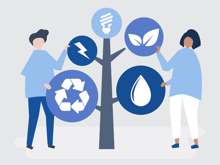Characters of people and a tree of environmental icons illustration