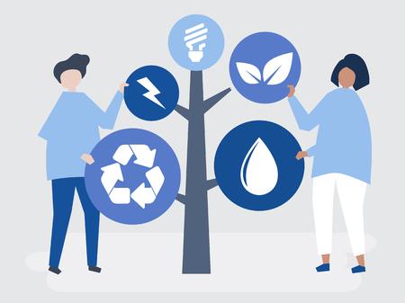 Personaggi di persone e un albero di icone ambientali illustrazione Vettoriali