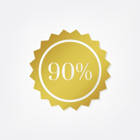 Gold 90% shop sale promotion advertisement badge vector 스톡 콘텐츠 - 125971137