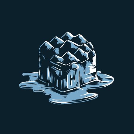 Iceberg de fonte de l'illustration de l'effet du réchauffement climatique