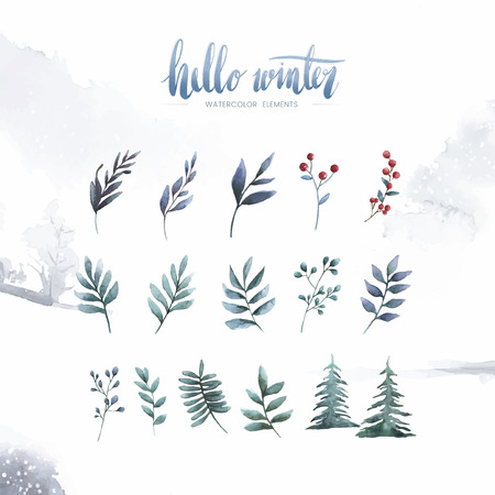 Watercolor plant elements