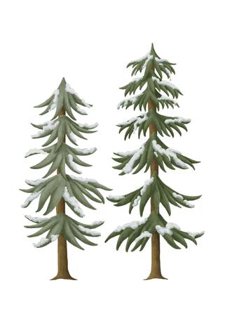 Hand-drawn snowcapped pine trees
