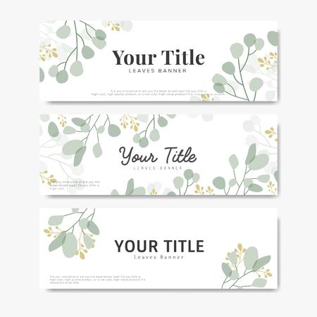 Blank minimal foliage banners vector set