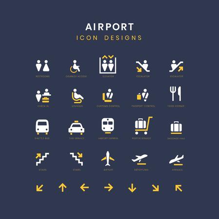 Lotnisko usługi znaki wektor zestaw