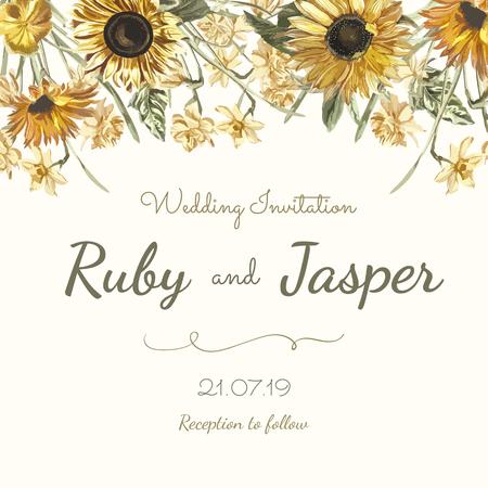 Vector de maqueta de tarjeta de invitación de boda Ilustración de vector