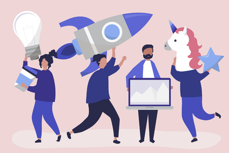 People characters holding creative business concept icons Vektoros illusztráció