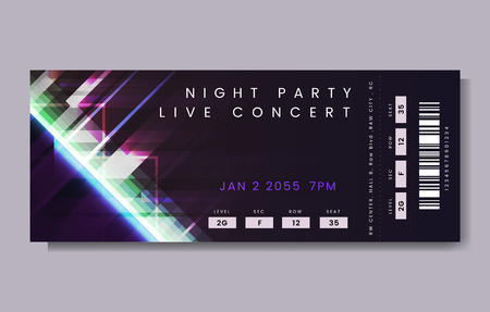 Night party live concert ticket vector Illustration