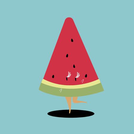 Slice of watermelon cartoon vector  イラスト・ベクター素材