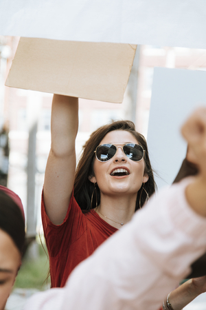 Cheerful feminists celebrating women's rights