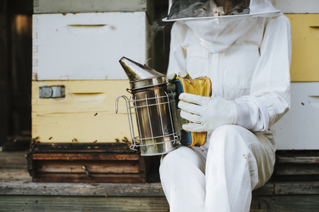 Beekeeper with the smoker and her bee hives