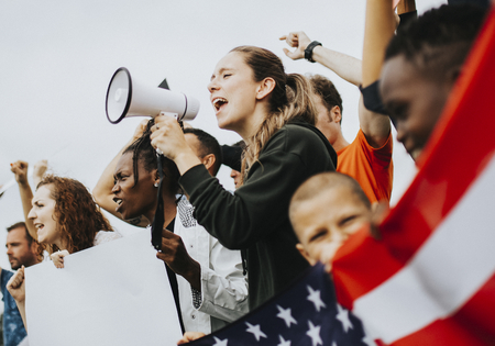 Group of American activists is protesting Stock Photo - 115671187
