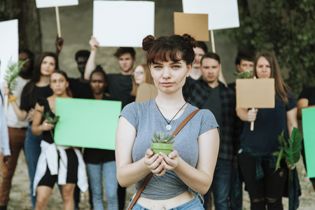 Environmentalists protesting for the environment Stock Photo