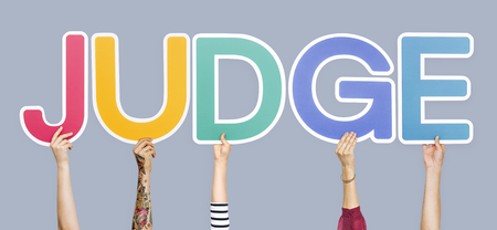 Colorful letters forming the word judge