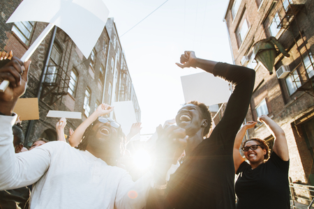 Ecstatic protesters at a demonstration