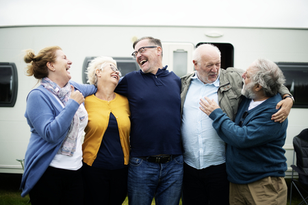 Cheerful seniors having a good time