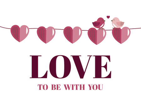 Valentine's Day banner decoration vector Çizim