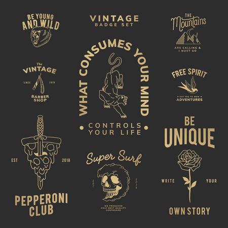 Motivierendes Vintage-Abzeichen-Set-Logo-Vektor