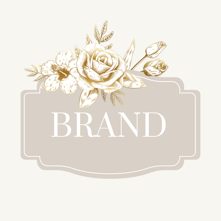 Hand drawn floral badge vector