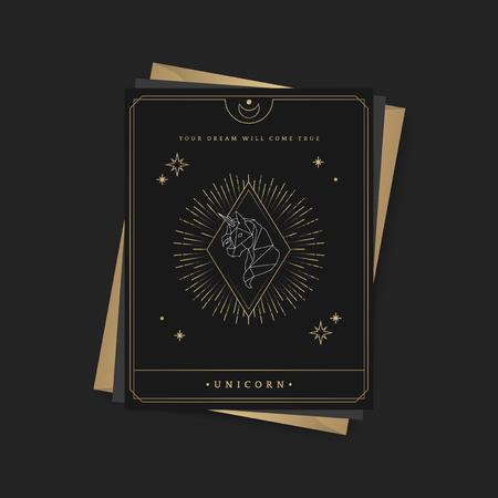 Geometric unicorn mystic symbol fortune card vector