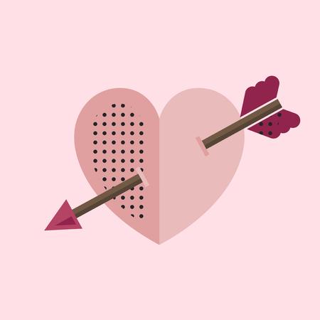 Pink heart with a cupid arrow vector