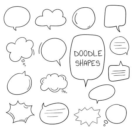 Handgetekende doodle tekstballonnen vector set