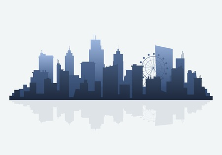 Blue silhouette cityscape background vector