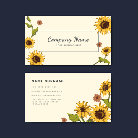 Business card templates with decorative sunflower design