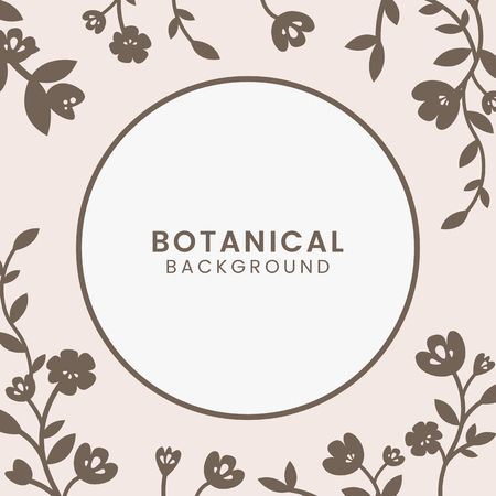 Brown botanical round framed vector