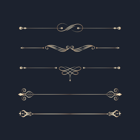 Decorative calligraphic ornaments vector set Vettoriali