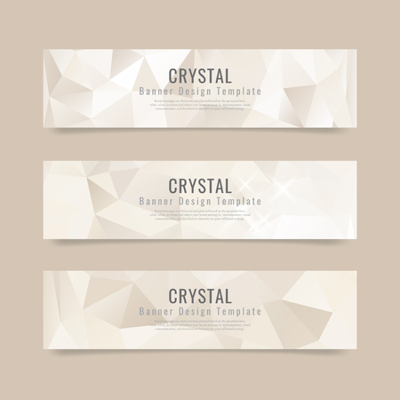 Beige crystal textured banner template vector