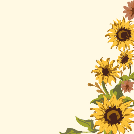 Sunflower pattern with a beige background