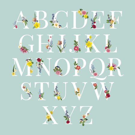 Floral capital alphabet set vector
