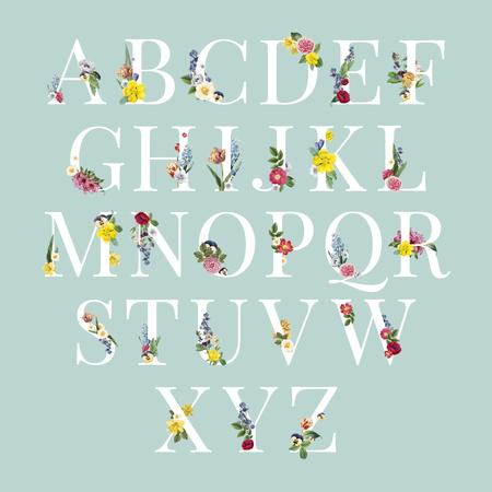 Vecteur de jeu d'alphabet majuscule floral