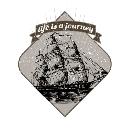 Motivational quote life is a journey badge vector