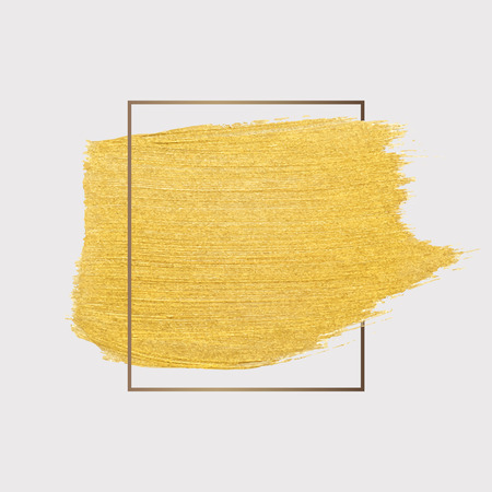 Golden shimmery brush stroke badge vector Illustration