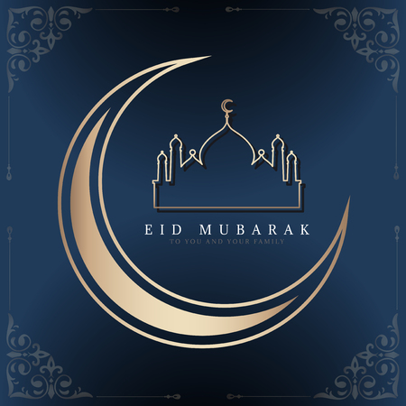 Eid Mubarak card with a crescent moon and a mosque pattern background