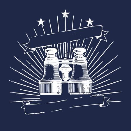 Classic binoculars illustration logo vector
