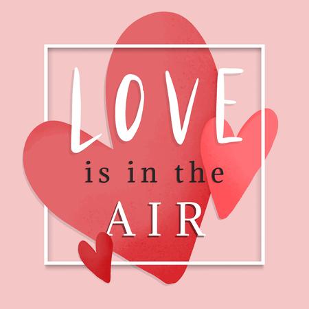 L'amour est dans la conception de cartes romantiques dans l'air