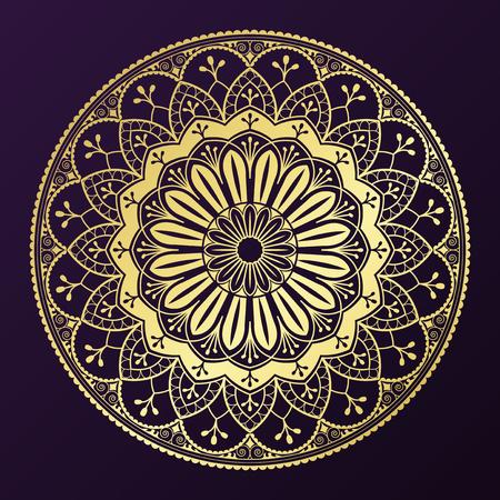 Motif géométrique mandala or sur fond violet Vecteurs