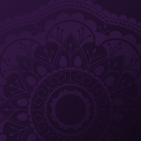 Purple mandala pattern on black background