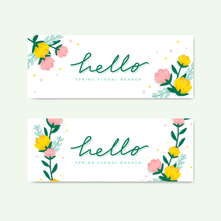 Hello spring floral banner vector Banque d'images - 125881727