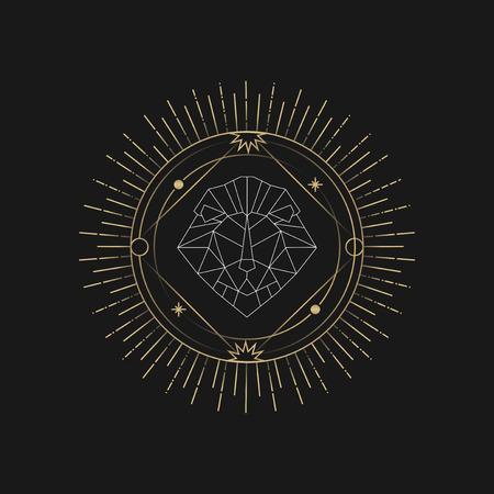 Geometric lion mystic symbol vector