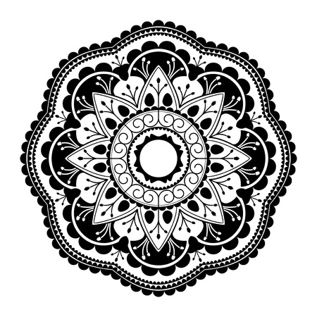 Black mandala pattern on white background Illustration